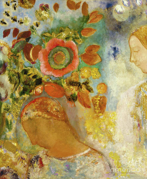 Wall Art - Painting - Two Young Girls Among Flowers, 1912  by Odilon Redon
