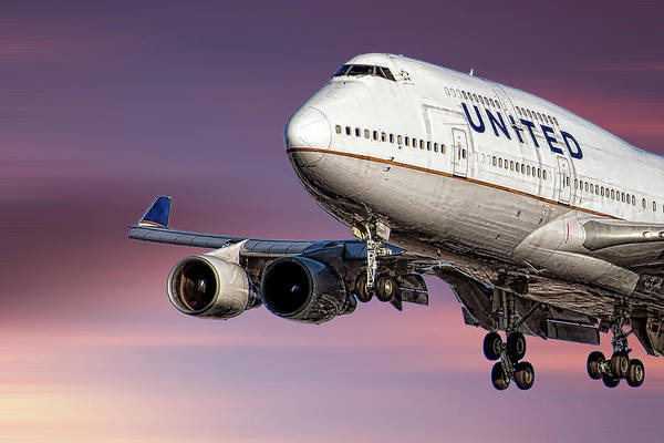 Wall Art - Mixed Media - United Airlines Boeing 747-422 by Smart Aviation