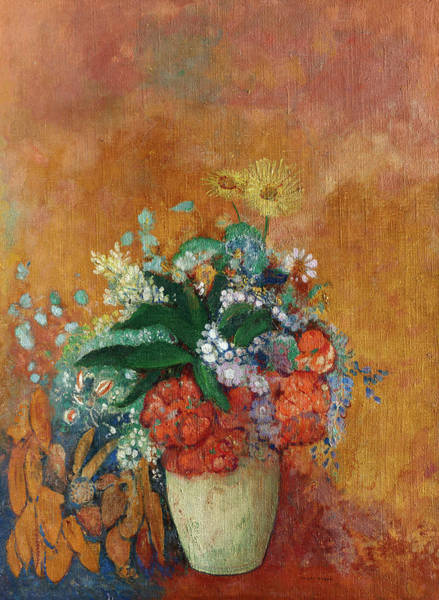 Tulip Bloom Painting - Vase Of Flowers, 1905 by Odilon Redon
