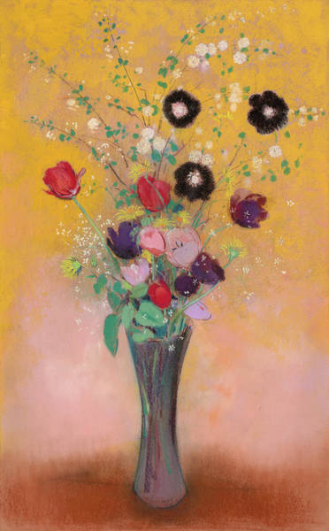 Tulip Bloom Painting - Vase Of Flowers, 1916 by Odilon Redon