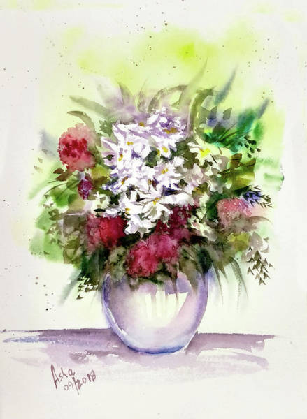Wall Art - Painting - Vase Of Flowers by Asha Sudhaker Shenoy
