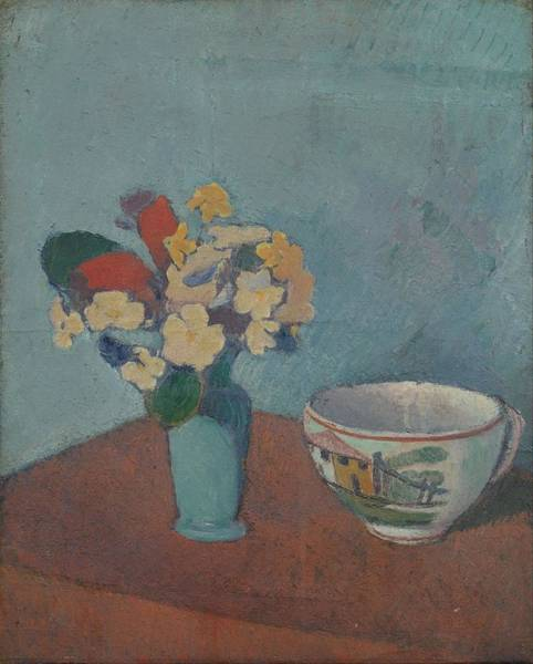 Wall Art - Painting - Vase With Flowers And Cup by Emile Bernard