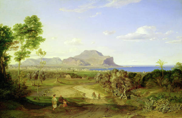 Sicily Painting - View Over Palermo by Carl Rottmann