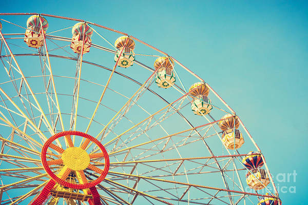 Wall Art - Photograph - Vintage Colorful Ferris Wheel Over Blue by Andrekart Photography