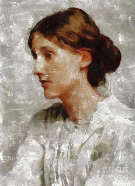 Wall Art - Painting - Virginia Woolf, Literary Legend by Mary Bassett