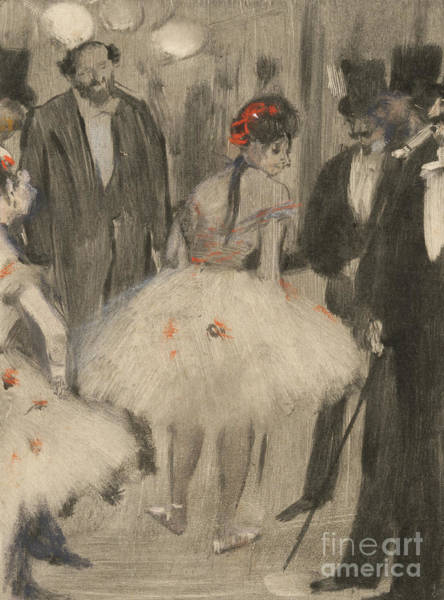 Wall Art - Pastel - Virginie Being Admired While The Marquis Cavalcanti Looks On by Edgar Degas