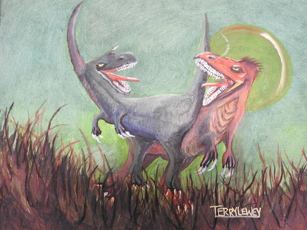 Food Chain Painting - 2 V.raptors by Terry Lewey