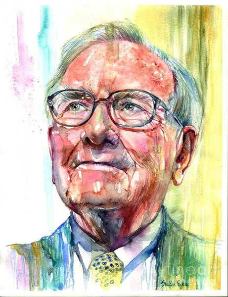 Wealth Painting - Warren Buffett Portrait by Suzann Sines