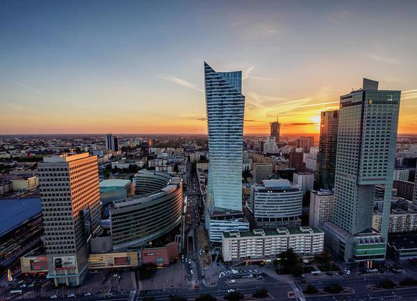 Wall Art - Photograph - Warsaw City Center Skyscrapers At Sunset Masovian Voivodeship Poland by imageBROKER - Karol Kozlowski