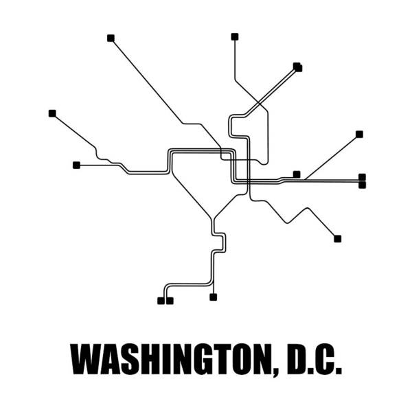 Wall Art - Digital Art - Washington Dc White Subway Map by Naxart Studio