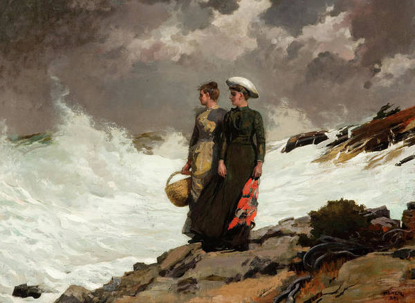 Wall Art - Painting - Watching The Breakers by Winslow Homer
