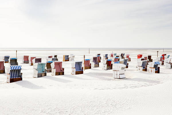 Wall Art - Photograph - Wicker Chairs On Beach by Jorg Greuel