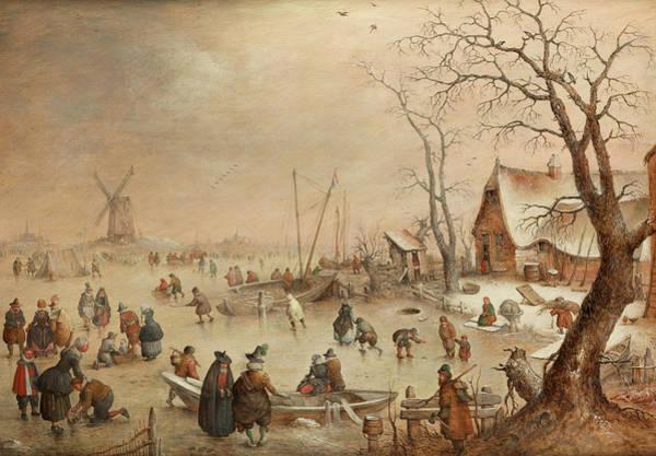 Snow Bank Painting - Winter Landscape by Hendrick Avercamp