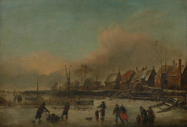 Painting - Winter Scene  by Style of Jan van de Cappelle