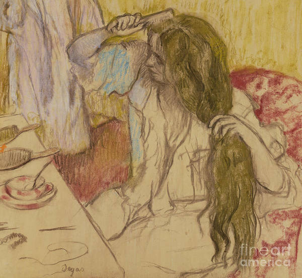 Wall Art - Pastel - Woman At Her Toilette by Edgar Degas