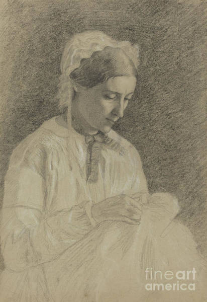 Wall Art - Drawing - Woman Embroidering by Edgar Degas