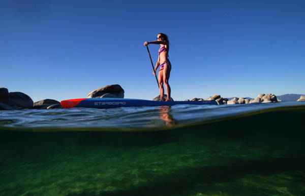 Wall Art - Photograph - Woman Paddleboarding In The Lake, Lake by Panoramic Images