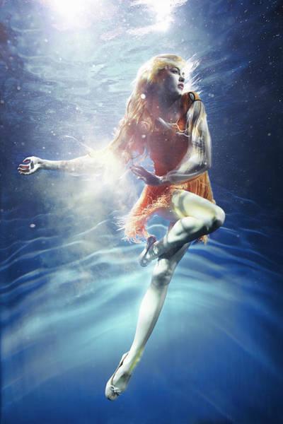 Underwater Photograph - Woman Underwater by Zena Holloway