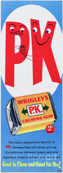 Wall Art - Photograph - Wrigleys P.k. Chewing Gum by Picture Post