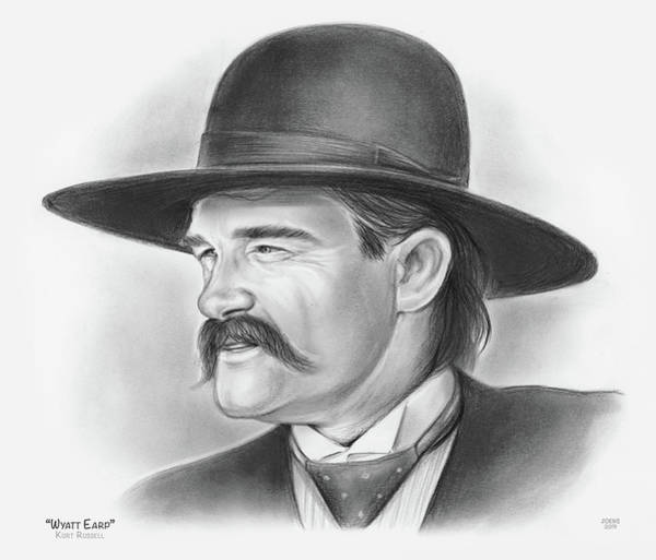 Wall Art - Drawing - Wyatt Earp by Greg Joens