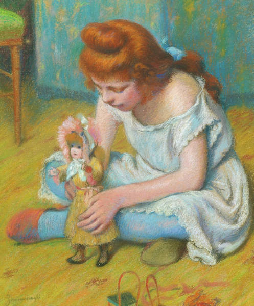 Wall Art - Painting - Young Girl Playing With A Doll by Federico Zandomeneghi