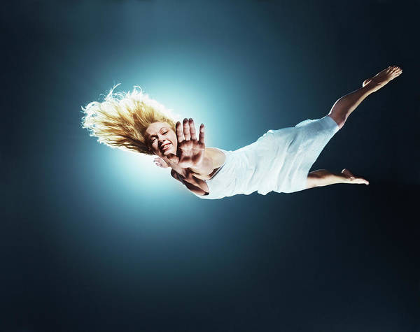 Human Arm Photograph - Young Woman In Air, Arms Outstretched by Henrik Sorensen