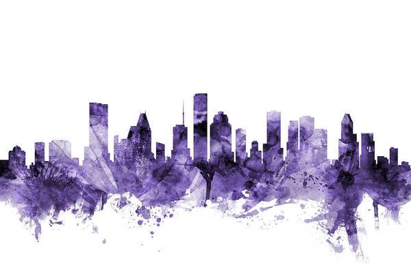 Purple Digital Art - Houston Texas Skyline by Michael Tompsett