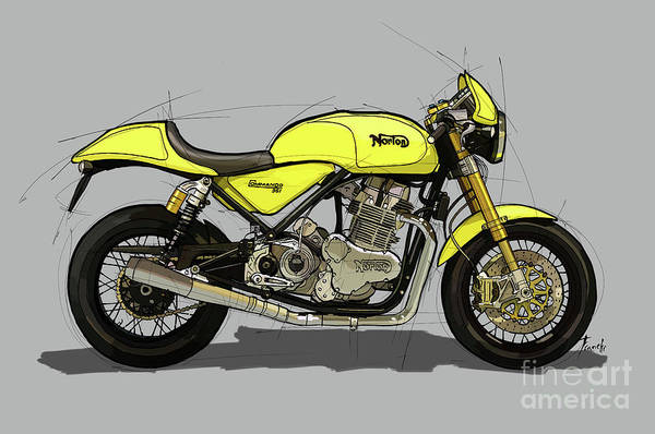 Wall Art - Painting - 2010 Norton Commando 961 Cafe Racer Original Handmade Drawing.gift For Bikers by Drawspots Illustrations