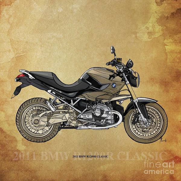 Wall Art - Drawing - 2011 Bmw R1200r Classic by Drawspots Illustrations