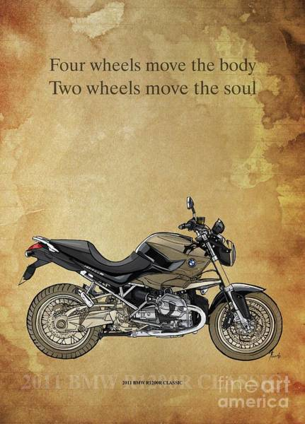 Wall Art - Drawing - 2011 Bmw R1200r Classic, Original Artwork, Motorcycle Quote by Drawspots Illustrations