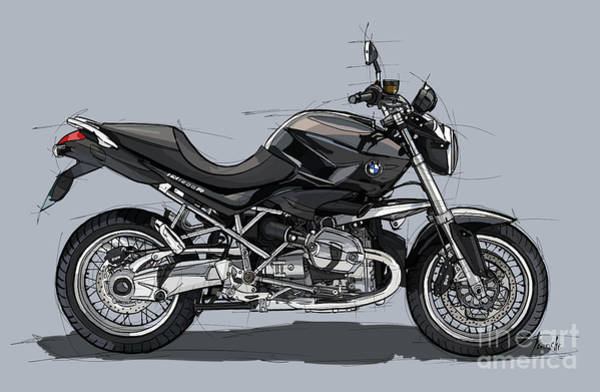 Wall Art - Digital Art - 2011 Bmw R1200r Classic Original Handmade Drawing by Drawspots Illustrations