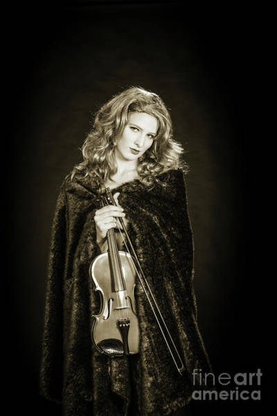 Photograph - 201.1854 Violin Musician Black And White by M K Miller