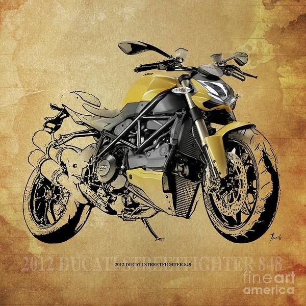 Wall Art - Drawing - 2012 Ducati Streetfighter 848, Original Artwork. by Drawspots Illustrations