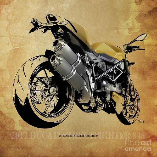 Wall Art - Drawing - 2012 Ducati Streetfighter 848,original Artwork by Drawspots Illustrations