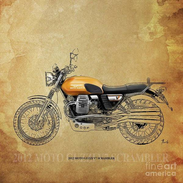 Wall Art - Drawing - 2012 Moto Guzzi V7 Scrambler by Drawspots Illustrations