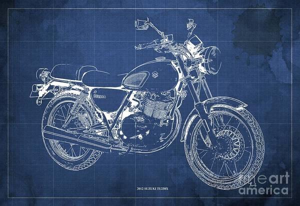 Wall Art - Digital Art - 2012 Suzuki Tu250x Blueprint, Vintage Blue Background by Drawspots Illustrations