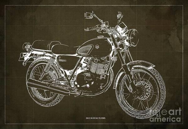 Wall Art - Digital Art - 2012 Suzuki Tu250x Blueprint, Vintage Brown Background by Drawspots Illustrations