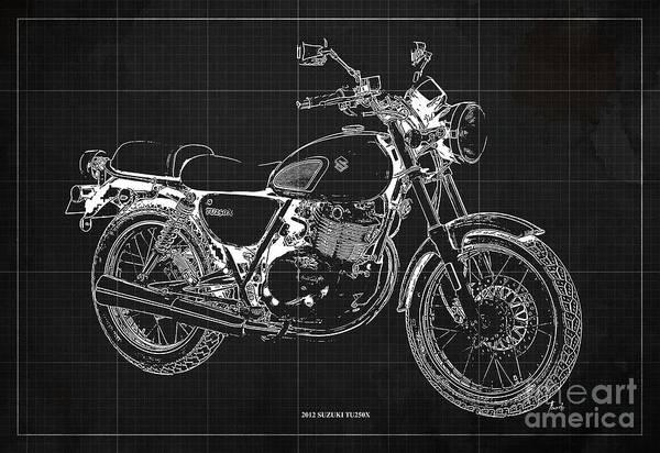 Wall Art - Digital Art - 2012 Suzuki Tu250x Blueprint, Vintage Dark Grey Background by Drawspots Illustrations
