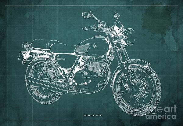 Wall Art - Digital Art - 2012 Suzuki Tu250x Blueprint, Vintage Green Background by Drawspots Illustrations
