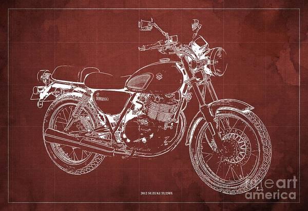 Wall Art - Digital Art - 2012 Suzuki Tu250x Blueprint, Vintage Red Background by Drawspots Illustrations