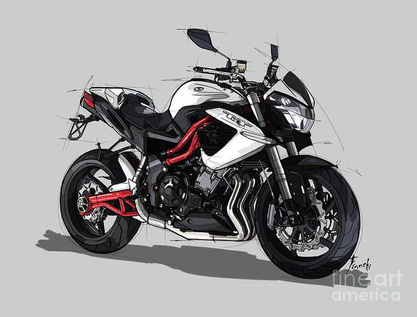 Wall Art - Digital Art - 2013 Benelli Tornado Naked Tre1130r Original Handmade Drawing by Drawspots Illustrations