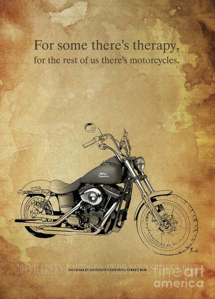 Wall Art - Drawing - 2013 Harley Davidson Fxdb Dyna Street Bob, Original Artwork. Motorcycle Quote by Drawspots Illustrations