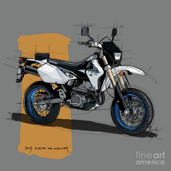 Wall Art - Digital Art - 2013 Suzuki Dr-z400sm, Original Handmade Drawing by Drawspots Illustrations
