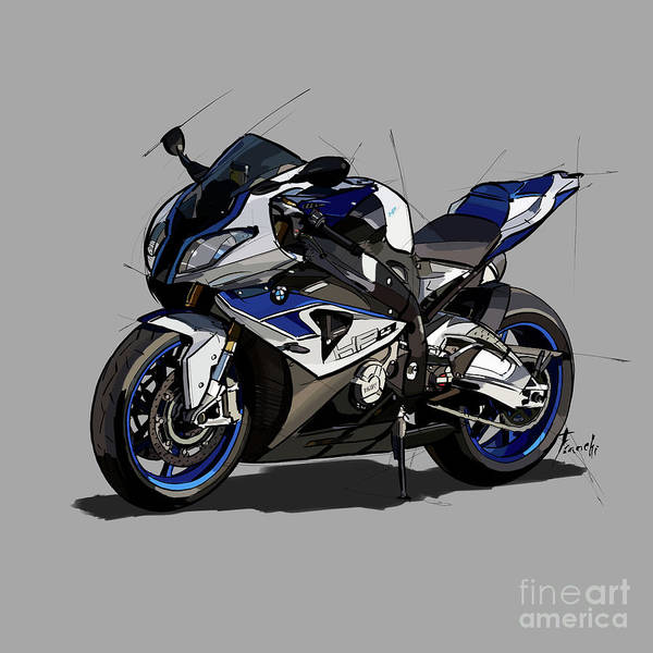 Wall Art - Digital Art - 2014 Bmw Hp4 Motorcycle Original Handmade Drawing Custom Gift by Drawspots Illustrations