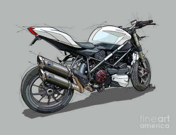 Arte Digital Art - 2015 Ducati Streetfighter by Drawspots Illustrations