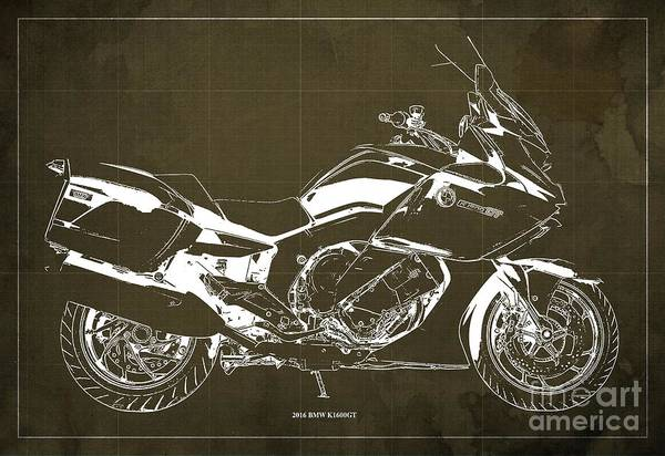 Wall Art - Digital Art - 2016 Bmw K1600gt Blueprint, Original Motorcyclkes Blueprints, Bmw Artworks, Vintage Brown Background by Drawspots Illustrations