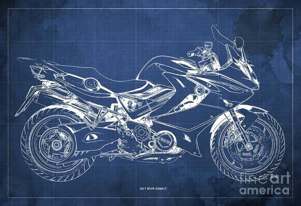 Black Friday Wall Art - Digital Art - 2017 Bmw F800gt Blueprint, Vintage Blue Background by Drawspots Illustrations