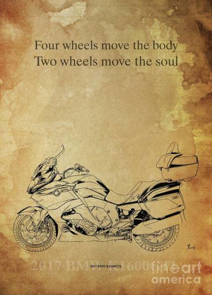 Wall Art - Drawing - 2017 Bmw K1600gtl, Original Artwork. Motorcycle Quote by Drawspots Illustrations