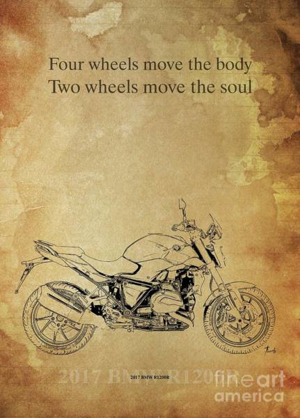 Wall Art - Drawing - 2017 Bmw R1200r,original Artwork. Motorcycle Quote by Drawspots Illustrations