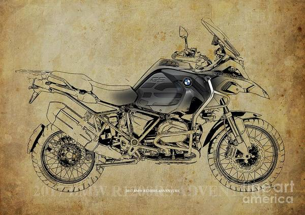 Wall Art - Digital Art - 2017 Bmw R1200rs Adventure Artwork by Drawspots Illustrations